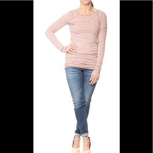 Hard Tail Forever Long Sleeve Skinny Tee Taupe